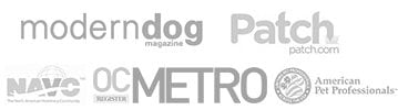 as featured in Modern Dog Magazine, Patch.com, NAVC, Orange County Metro Network, American Pet Professionals