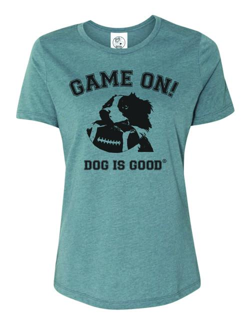 T-shirt: Game On (women's, slate blue)