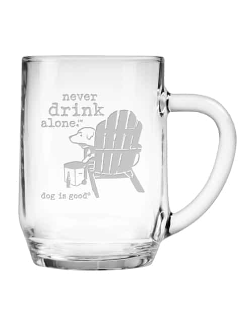Glass Mug Set of 2: Never Drink Alone