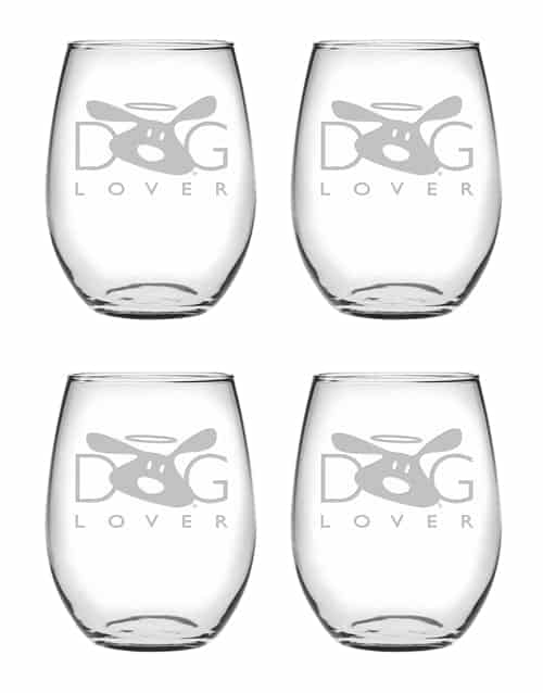 Wine Glass Set of 4: Dog Lover Stemless