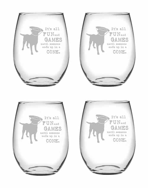 Wine Glass Set of 4: Fun and Games Stemless