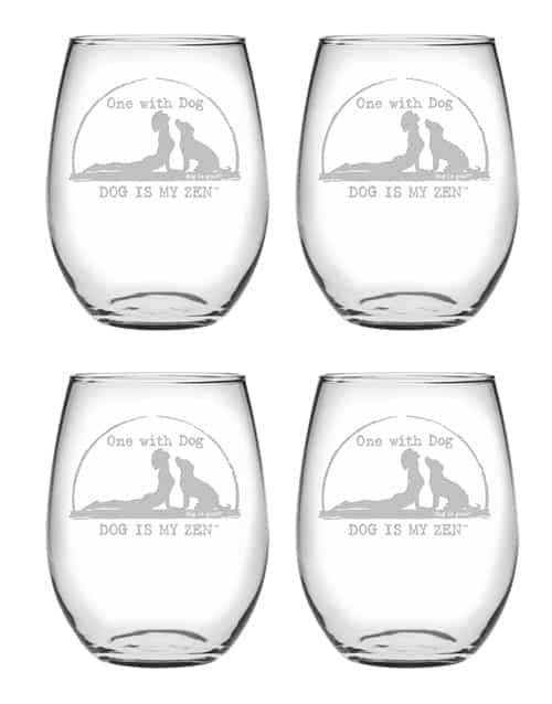 Wine Glass Set of 4: Dog is My Zen Stemless