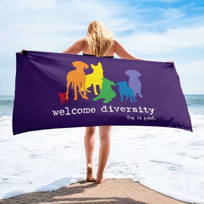 Beach Towel: Welcome Diversity Pride