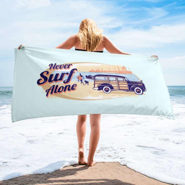 Beach Towel: Never Surf Alone
