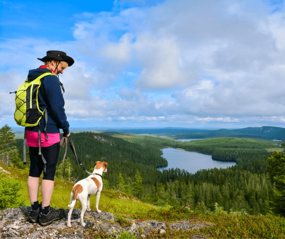 woman and dog hiking