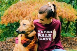 never walk alone tee and dog