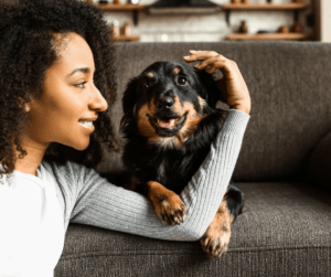 woman and smiling dog