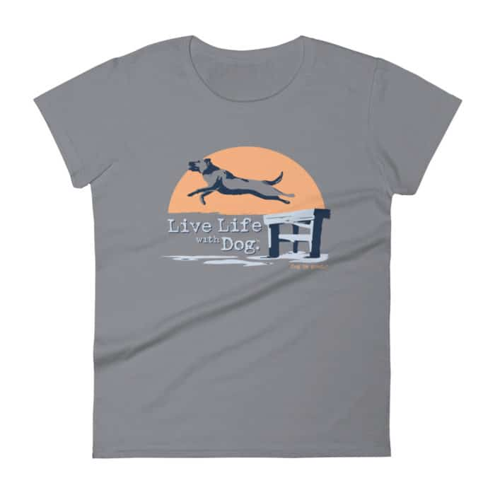 T-shirt: Live Life with Dog, Dock Dog (women's)