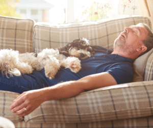 dog and man sleeping on a couch