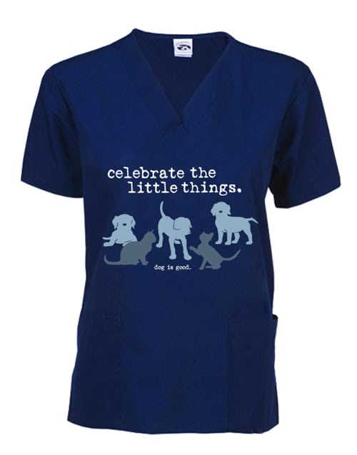 Scrub Top: Celebrate Little Things (cat and dog)