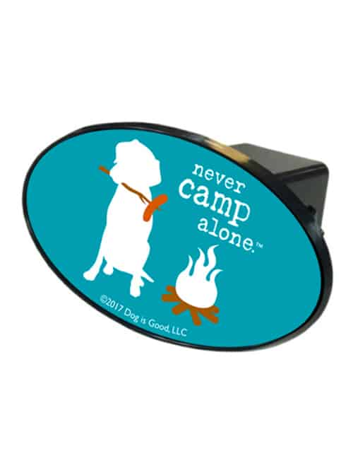 Trailer Hitch Cover: Never Camp Alone