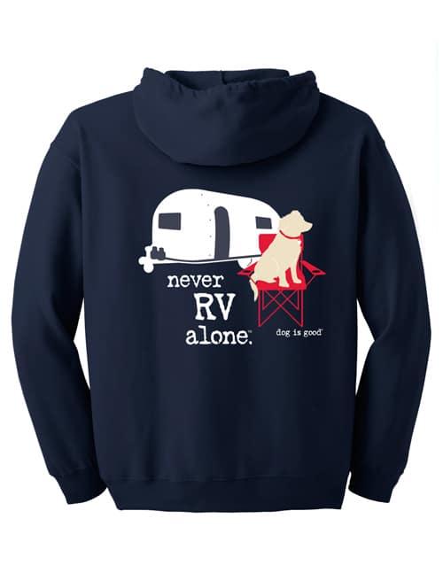 Zip Never RV Alone (unisex, navy)