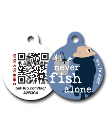 Pet ID:Never Fish Alone QR Code Tag by PetHub