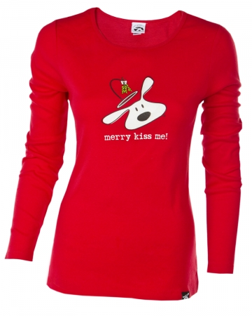 Clearance Priced!! Long Sleeve T-shirt: BOLO Holiday Merry Kiss Me, Women's
