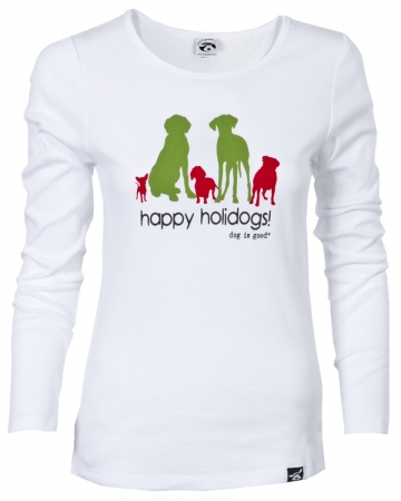 Clearance Priced!! Long Sleeve T-shirt: Happy Holidogs Women's